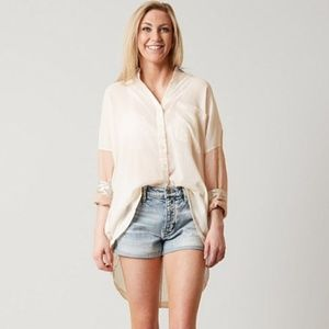 Free People Rainbow Rays Oversize Button Up Shirt